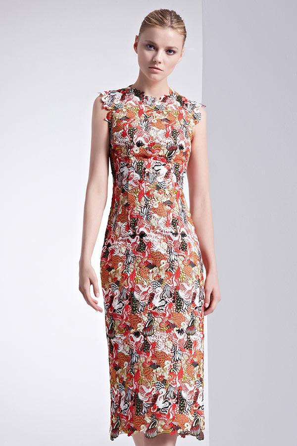 Femme robe florale mi-longue moulante encolure ronde
