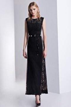 Robe de soirée noire ornée de dentelle aux paillettes col rond