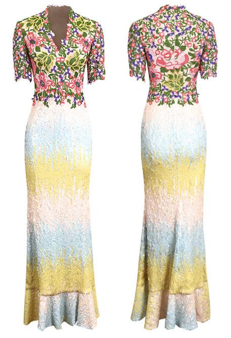 Robe florale à manche jupe sirène colorée