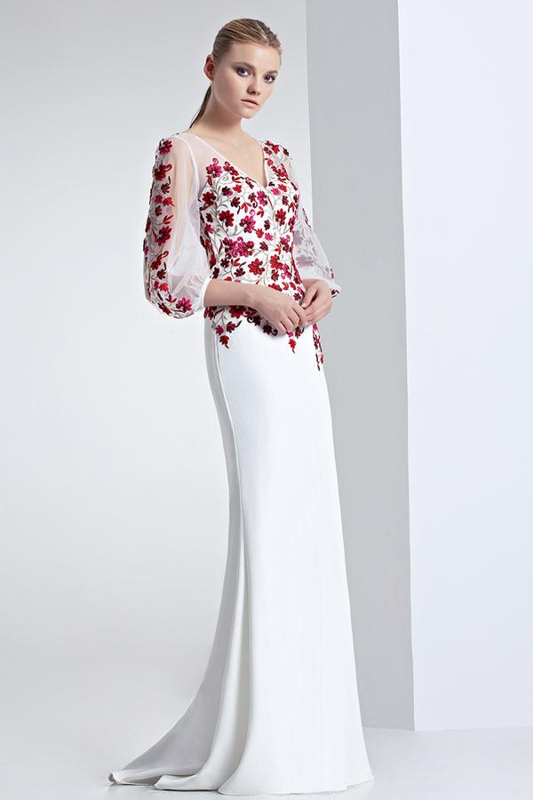 Robe de gala sirène haut floral col V à manche longue