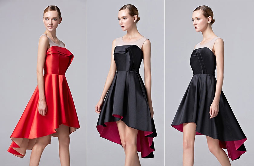 robe de soirée rouge / noire courte devant longue derrière pour danse