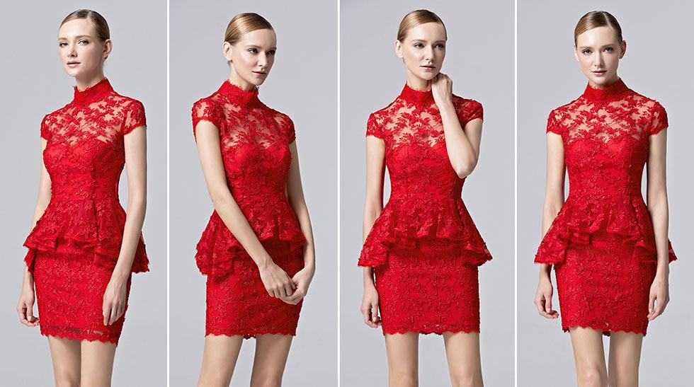 robe péplum court moulante rouge col haut illusion en dentelle à mancherons