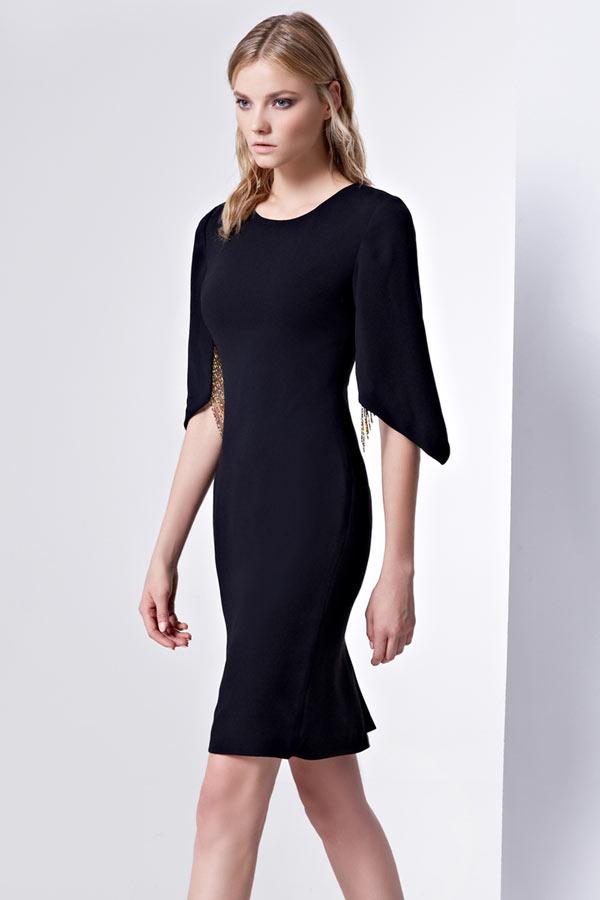 À Manche Robe Petite Moderne Fente Noire Derrière Avec O0PXnwk8
