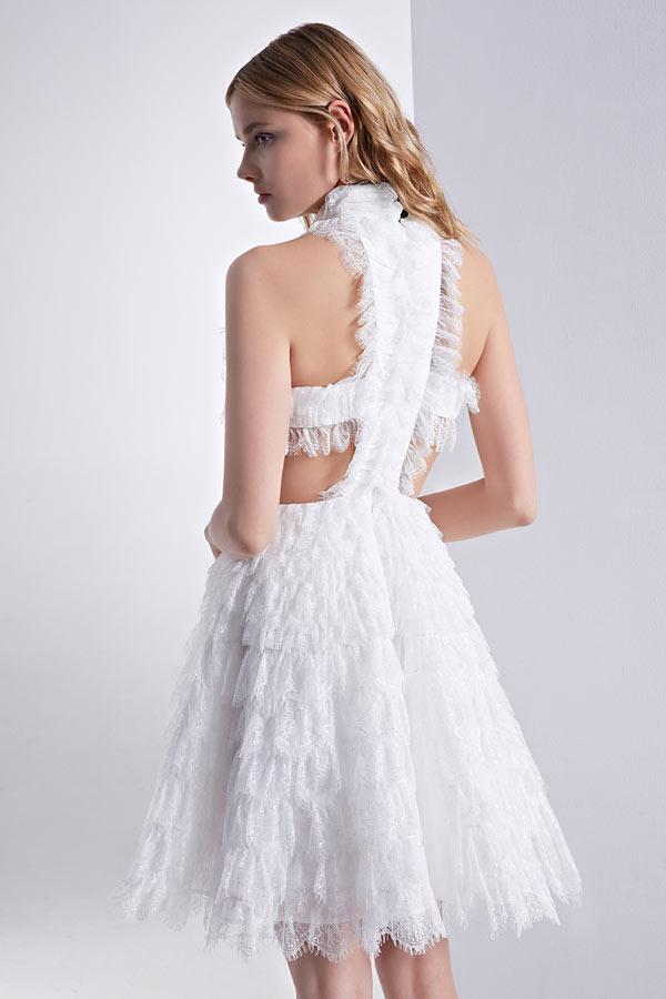 Chic robe de bal rose dentelle à col montant dos découpé - JMRouge.fr af56c95cec3c