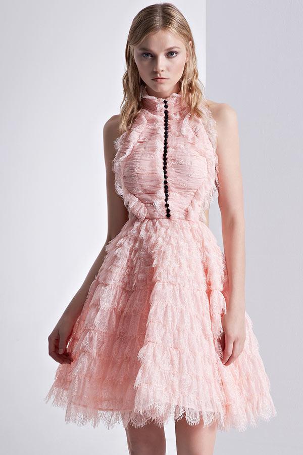 Chic robe de bal rose dentelle à col montant dos découpé