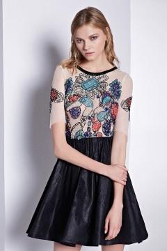 Robe de fille habillée en motif original dos transparent à manche