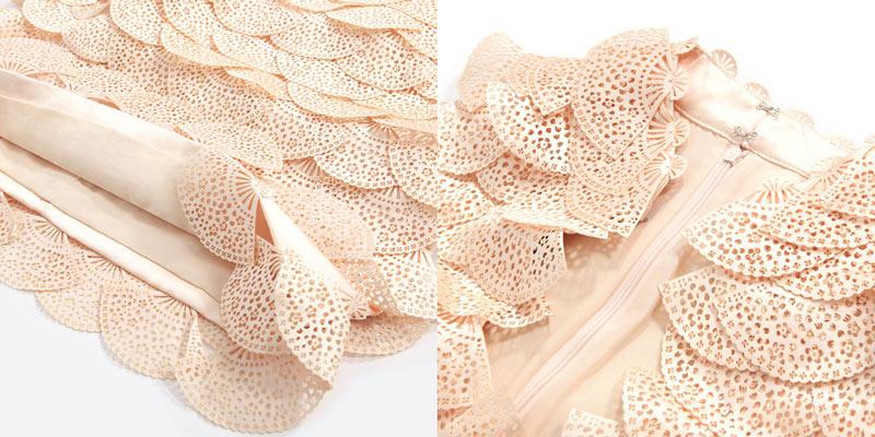 robe chic appliquée écailles d'éventaill en 3D