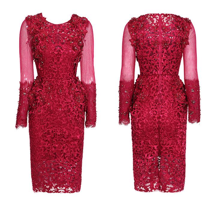 Robe rouge moulante de luxe col rond dentelle à cotée de manche longue