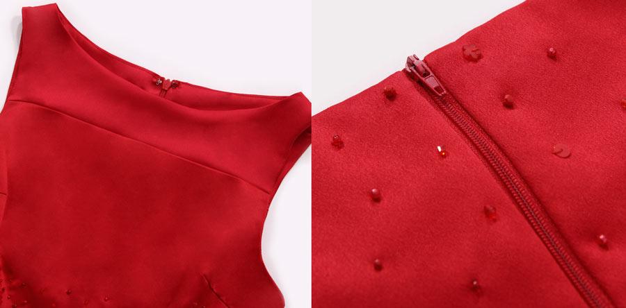 petite robe rouge habillée pour fille col rond