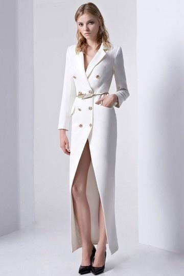 robe chemisier blanche manche longue avec ceinture dorée