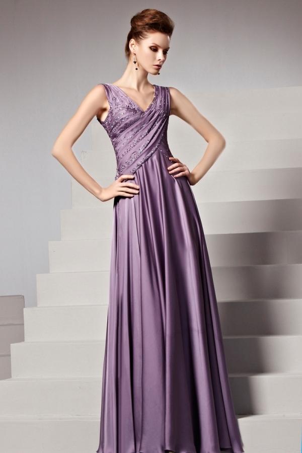 Robe de soirée raisin empire ruchée ornée de strass - Persun.fr 5707beaae8f6