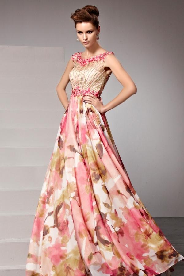 2a88cd9e3bd Robe soirée chic fleurs imprimées rose perles appliquées - Persun.fr