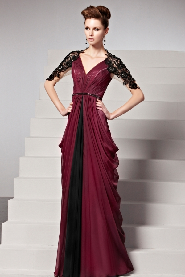 Robe bordeaux drapée dentelle noire ceinturée - Persun.fr 1cecf577154d