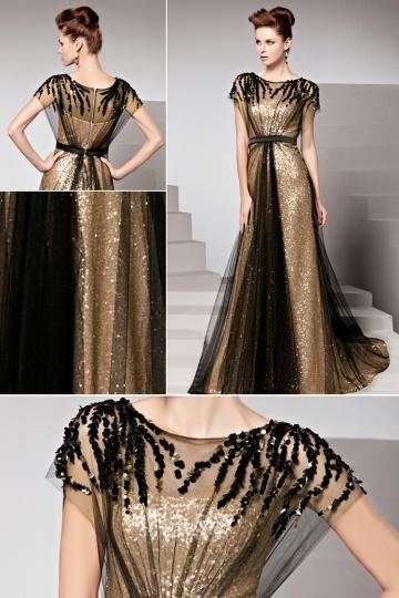 robe de soirée noire et dorée élégante ornée de rhinestones
