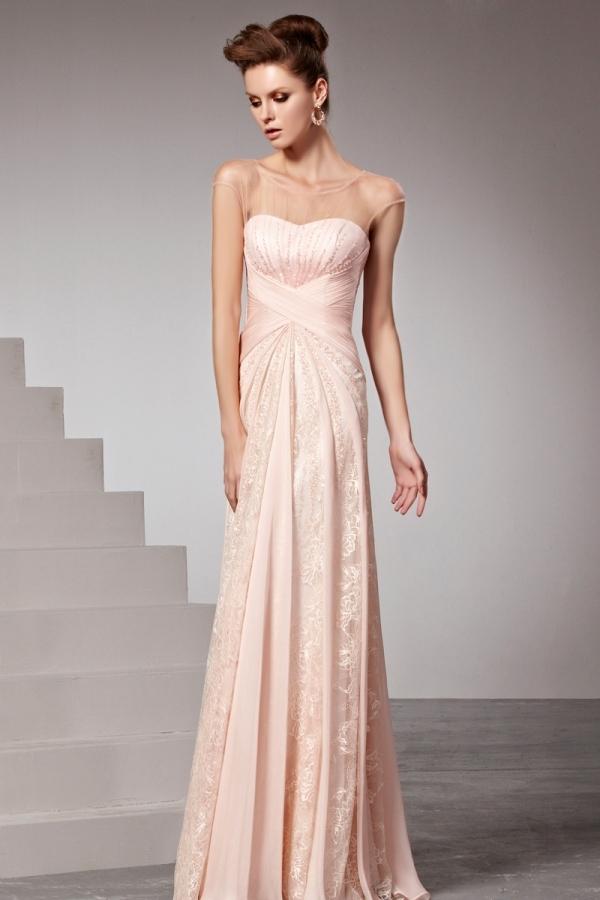 Robe rose chic ruchée ornée de strass dentelle col bateau - Persun.fr 80f0bfd1a143