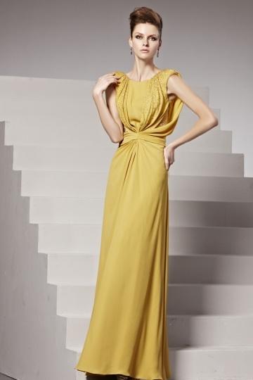 Robe de soirée jaune ligne-A ruchée ornée de strass