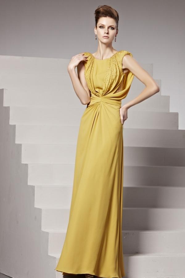 Robe de soirée jaune ligne-A ruchée ornée de strass - Persun.fr 3d9e0c765561