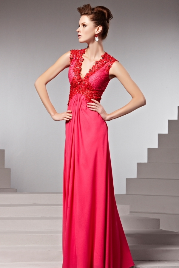Robe rouge empire dentelle ruchée en mousseline - Persun.fr 2ef9878ba2b8