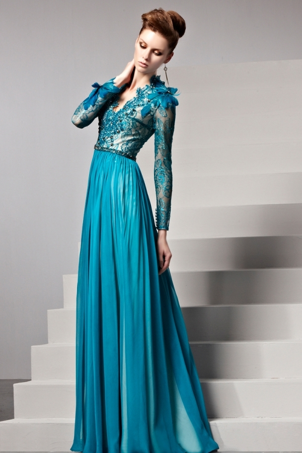 Robe longue de soiree bleu pas cher