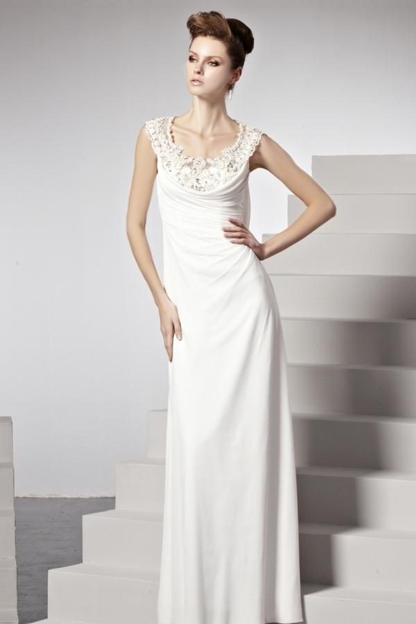 394a73e7bfc Robe longue colonne drapée perles dentelle blanche - Persun.fr