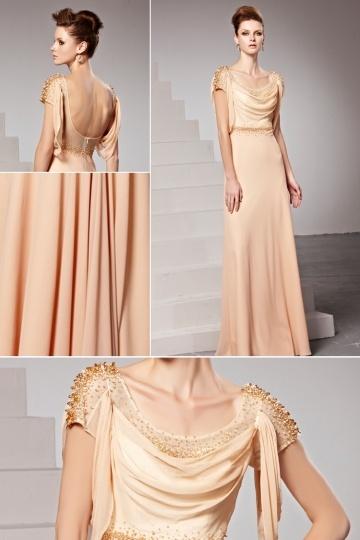 robe de soirée col drapé longue orné de strass