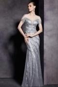 Gray Tone Sequins Short Sleeves Trumpet Floor Length Formal Dress