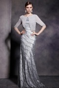 Gray Tone Half Sleeves Sequins Scoop Floor Length Formal Dress