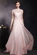 Beautiful Pink Tone Tencel Sleeveless High Neck Zipper Long Formal Dress