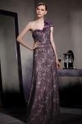 Luxus Ein Schulter Lila A Linie Langes Perle Abendkleider aus Spitze