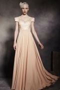 Champagne Tone High Neck Cap Sleeves Empire Floor Length Prom Dress