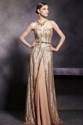 Champagne Tone Sexy Strapless Backless Floor Length Prom Dress