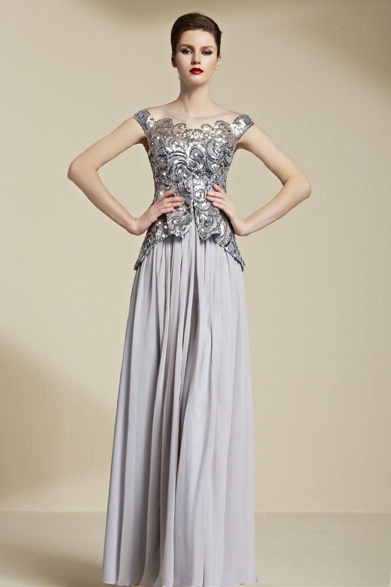 robe mère de la mariée longue argenté grise col illusion haut en sequins
