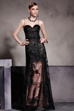 Etui-Liniees schwarzes langes A-Linie Rückenfreies Abendkleid aus Sequins