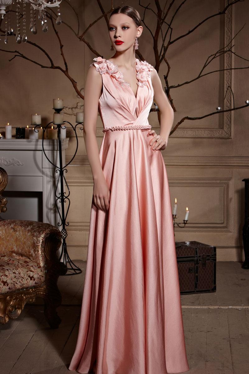 Robe longue cocktail de mariage rose incarnadin dos transparence