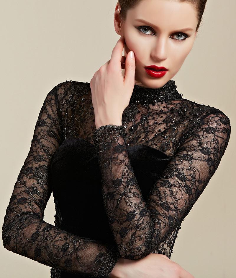 robe de soirée longue dentelle noire à manche longue