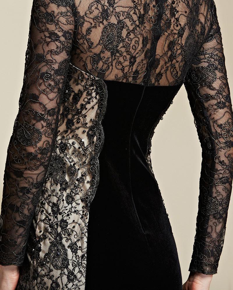 chic robe de soirée hiver longue dentelle noire