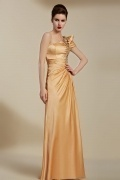 Vintage Champagne Long One Shoulder Embroidery Evening Dress With Sleeves