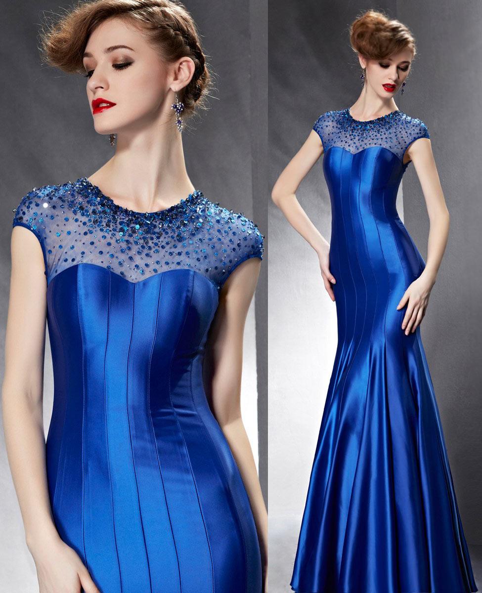 robe de soirée longue moulante sirène bleu roi classe