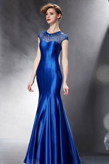 Robe de soirée moulante bleu coupe sirène encolure ornée de paillettes & bijoux