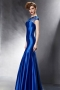 Robe de soirée moulante bleue coupe sirène encolure ornée de paillettes & bijoux