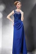 Chic robe soirée pailletée bleue ceinturée avec fronces