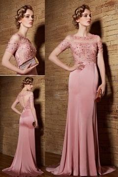 Robe habillée rose à haut appliques avec manches courtes