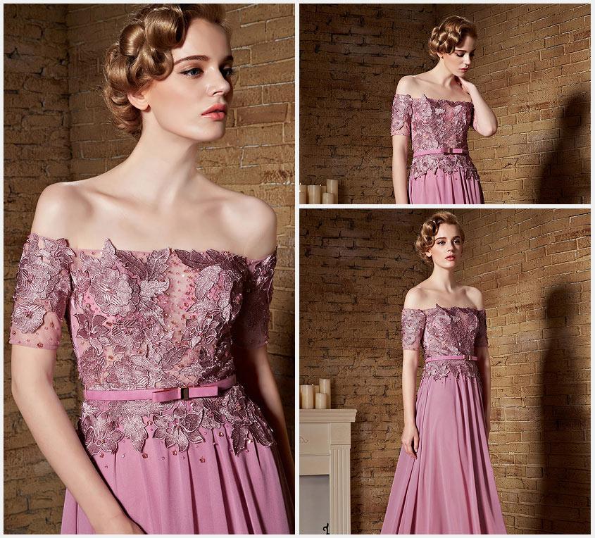 Robe rose longue épaules dénudées à haut appliquée de dentelle ... d18aa89dbdf8