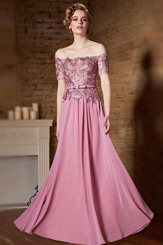Robe rose longue épaules dénudées à haut appliquée de dentelle ajourée 8a170b5f0bf5