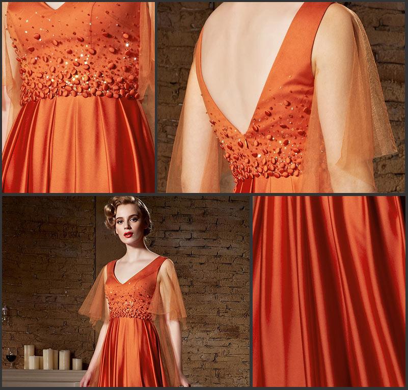 robe Soirée chic orange dos échancré en V