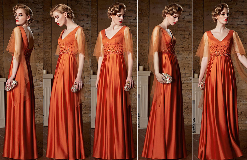 robe soirée longue orange satin avce manche évasée col v