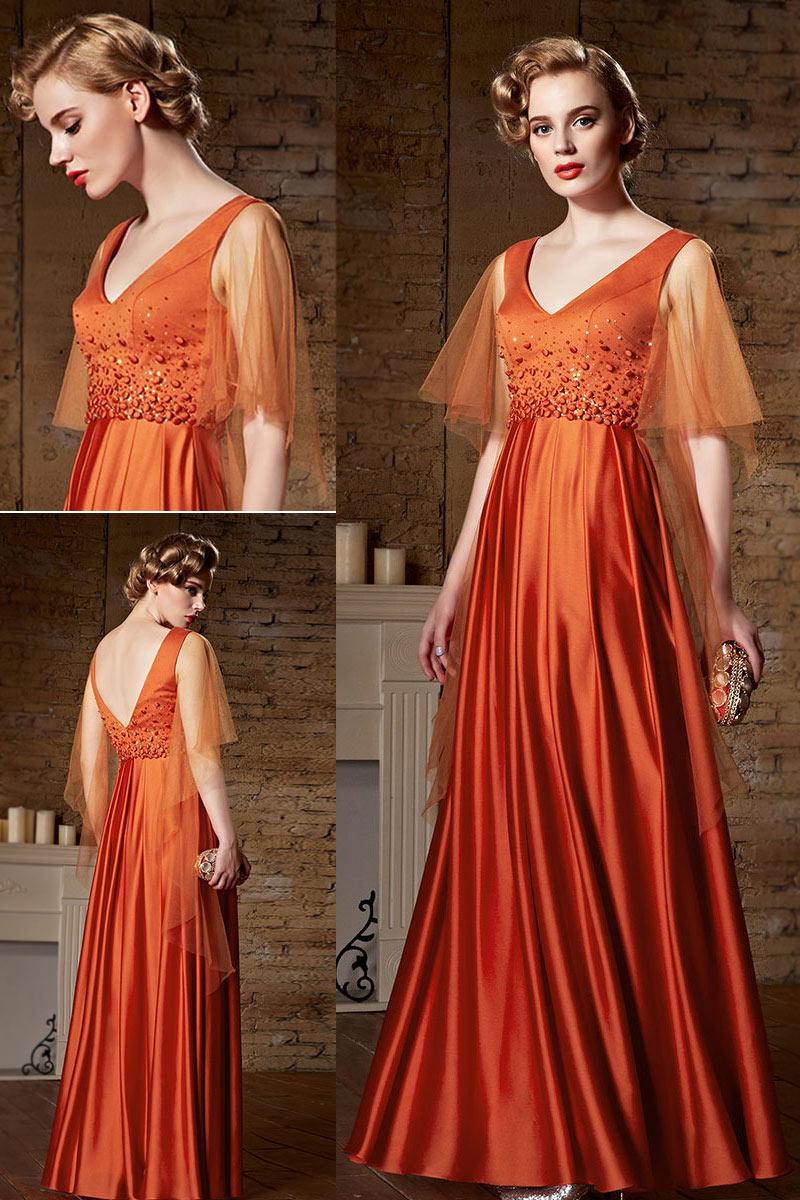 robe de soirée longue orange avce manche évasée à col v