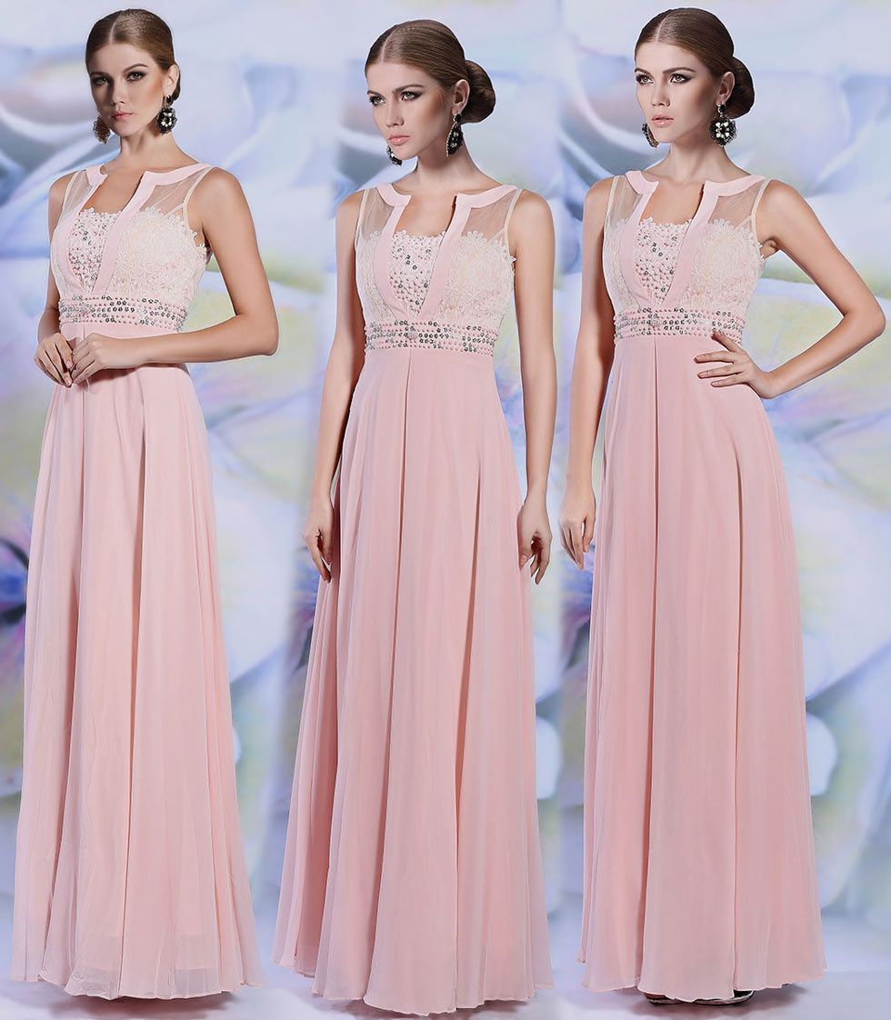 Robe rose longue en mousseline en sequin scintillant