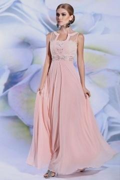 Robe de soirée rose pâle à haut orné de fleurs et bijoux