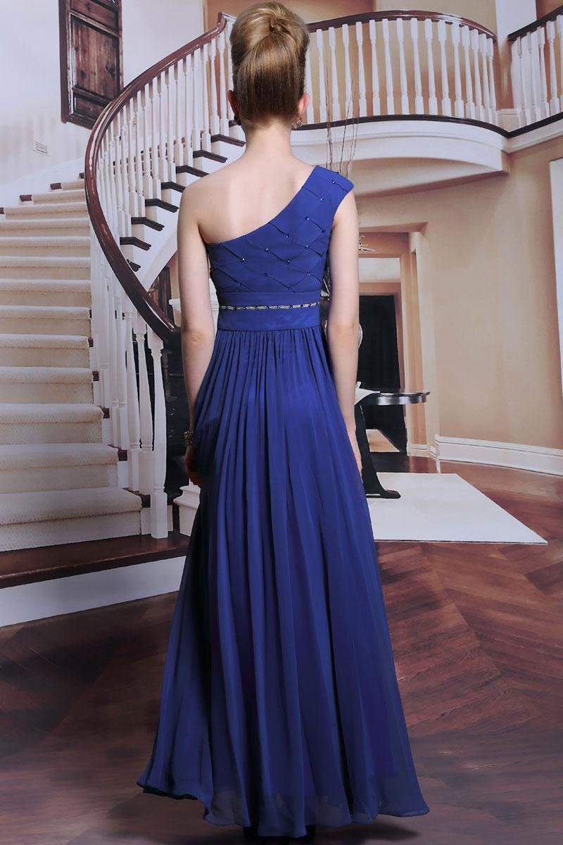robe chic longue pour mariage encolure asym trique. Black Bedroom Furniture Sets. Home Design Ideas